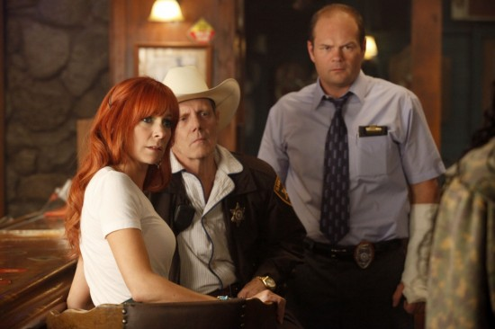 Merlotte's regulars Arlene (Carrie Preston), Andy (Chris Bauer), and Sheriff Dearborn (William Sanderson)