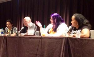 "From L-R: Tariq Kyle, Kevin Bachelder, Mary Moline, and Hanako M.Ricks discuss ""Growing Up to Save the World""at Dragon Con 2014. Photo credit: Anthony Liggins"
