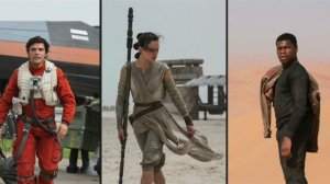 Character photos revealed at today's Star Wars Celebration event. From L-R: Poe Dameron (Oscar Isaac), Rey (Daisy Ridley, and Finn (John Boyega)